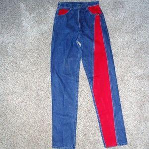 Rare NOS High Waist Rockies Jeans Red/Denim TALL